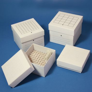 "Cryogenic Storage Box, 81 Place, white, for 2"" tall x 13mm wide tubes"