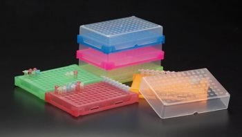 SIMPORT  PCR Rack for all models of 0.2mL tube, 8 & 12 strips tube, 96 well plate. Can be horizontally attached to each other in order to build-up any configuration you desire, Blue, pk/20